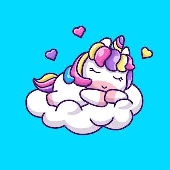 Śliczna jednorożec śpiąca ikona ilustracja. postać z kreskówki maskotka jednorożca. koncepcja ikona zwierzę na białym tle