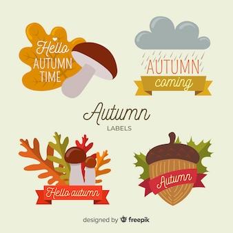 Śliczna jesień przylepia etykietkę kolekcję z liśćmi