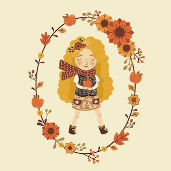 Śliczna jesieni blondynki kreskówki dziewczyna z jabłkiem