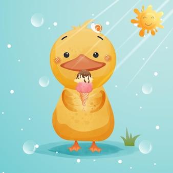 Śliczna kaczka je lody.