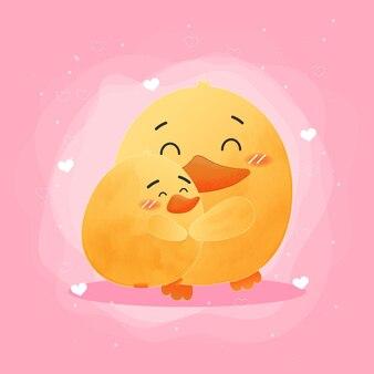 Śliczna kaczka kocha styl akwareli na dzień matki!