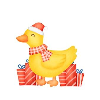 Śliczna kaczka na kartkę świąteczną w stylu akwareli.