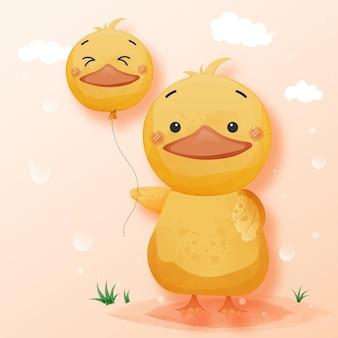 Śliczna kaczka trzymająca kaczkę balon