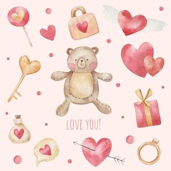 Śliczna karta na walentynki, zestaw elementów, słodki miś, serca, ilustracja na białym tle