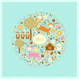 Śliczna karta z dzikimi zwierzętami. jelenie, niedźwiedzie, drzewa i ptaki