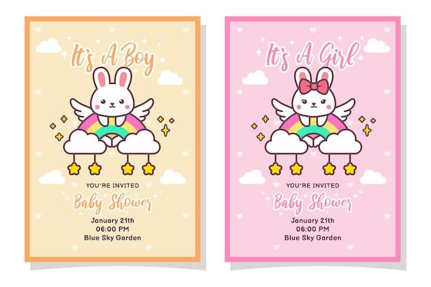 Śliczna karta zaproszenie na baby shower dla chłopca i dziewczynki z królikiem, chmurą, tęczą i gwiazdami