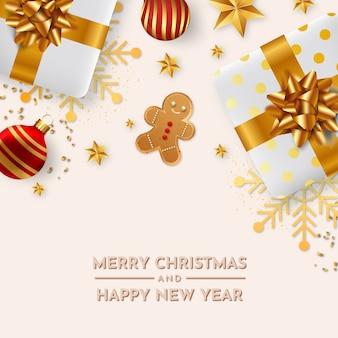 Śliczna kartka świąteczna z realistycznym tłem świątecznych dekoracji