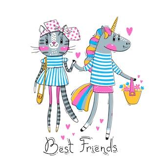 Śliczna kartka z najlepszymi przyjaciółmi. mały kotek i tęczowy jednorożec w modnych ubraniach.