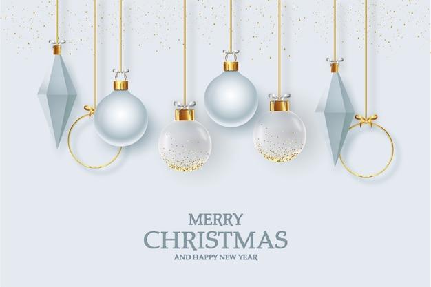 Śliczna kartka z życzeniami bożonarodzeniowymi z realistyczną dekoracją świąteczną