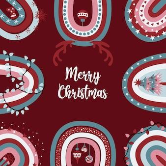 Śliczna kartka z życzeniami wesołych świąt z świątecznymi zdobionymi tęczami boho