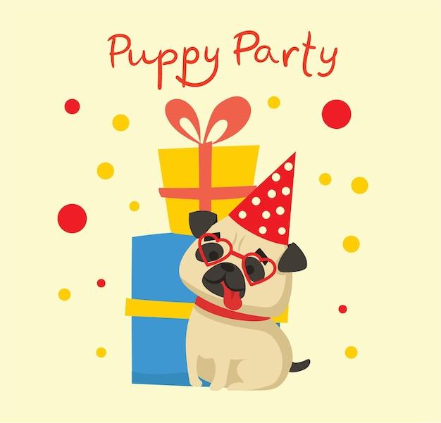 Śliczna kartka z życzeniami z prezentami i szczeniakiem w stylu płaski