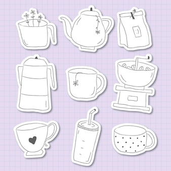 Śliczna kawa doodle dziennik naklejki zestaw wektor