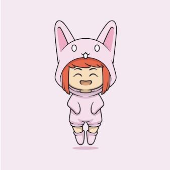 Śliczna kawaii dziewczyna w kostiumie królika!