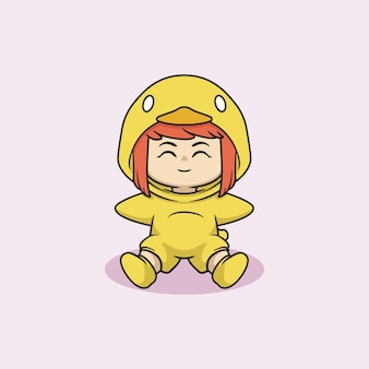 Śliczna kawaii dziewczyna w stroju kaczki dziecka