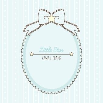 Śliczna kawaii jasnoniebieska ramka z kropkami i koronkami