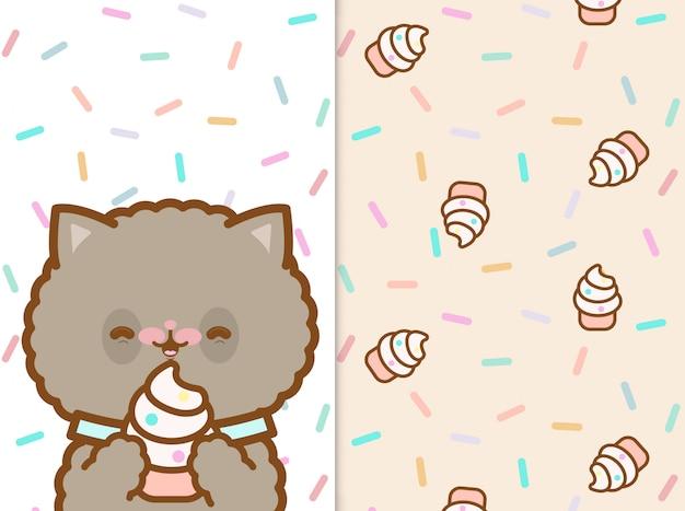 Śliczna kawaii kotek jedzenie ciasta ciasto i wzór