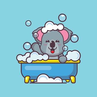 Śliczna koala biorąc kąpiel z bąbelkami w wannie ilustracja kreskówka wektor