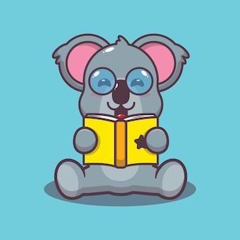 Śliczna koala czytająca książkę kreskówka wektor ilustracja