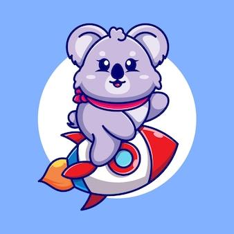 Śliczna koala jeżdżąca rakieta kreskówka
