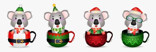 Śliczna koala kolekcja postaci bożonarodzeniowych z kapeluszem