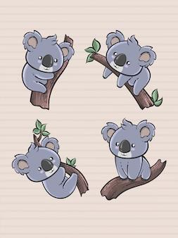 Śliczna koala kreskówka w wyciągnąć rękę