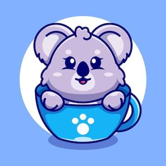 Śliczna koala na filiżance kawy kreskówka