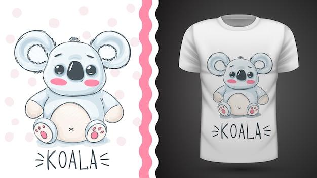 Śliczna koala na t-shirt z nadrukiem.