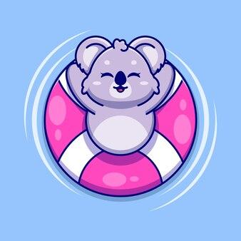 Śliczna koala pływająca z kreskówki pływania