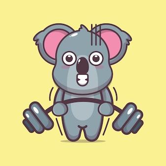 Śliczna koala podnosząca sztangę kreskówka wektor ilustracja