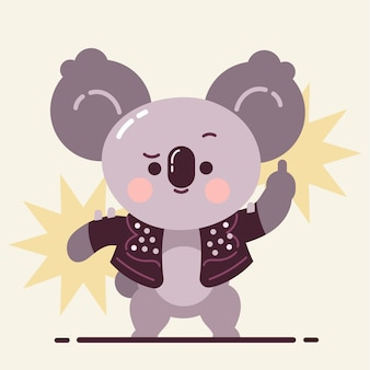 Śliczna koala pokazuje przysięgę na środkowy palec