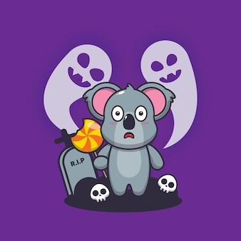 Śliczna koala przestraszona w noc halloween śliczna ilustracja kreskówka halloween