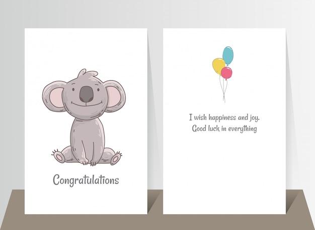 Śliczna koala siedzi. ręcznie rysowane doodle plakat szablon z kulami powietrznymi. charakter kreskówka niedźwiedź