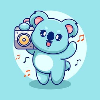Śliczna koala słuchająca muzyki z kreskówką boombox