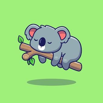 Śliczna koala śpi ikona ilustracja. płaski styl kreskówek