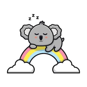 Śliczna koala śpi na ilustracji kreskówki tęczy