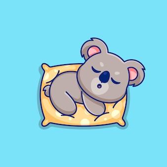 Śliczna koala śpiąca na poduszce kreskówka
