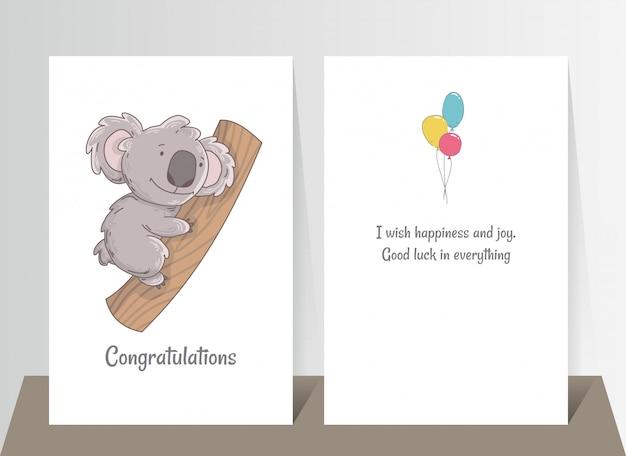 Śliczna koala trzyma drzewo. ręcznie rysowane doodle plakat szablon z kulami powietrznymi. charakter kreskówka niedźwiedź