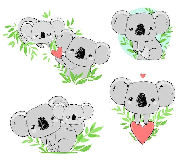 Śliczna koala ustawia piękny dziecięcy druk, ręcznie rysowana zwierzęca ilustracja.