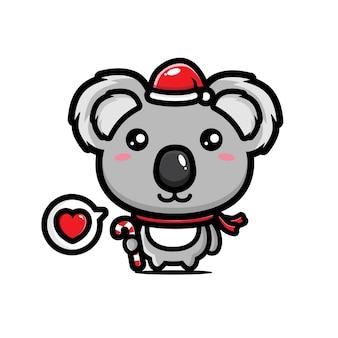 Śliczna koala w czapce mikołaja