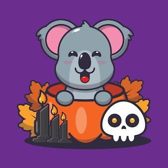 Śliczna koala w helloween dyni śliczna ilustracja kreskówka halloween