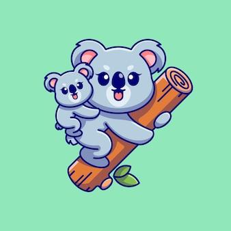 Śliczna koala wisząca na drzewie z kreskówką cubub