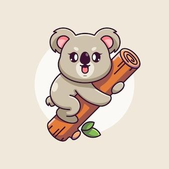 Śliczna koala wisząca na kreskówce drzewa