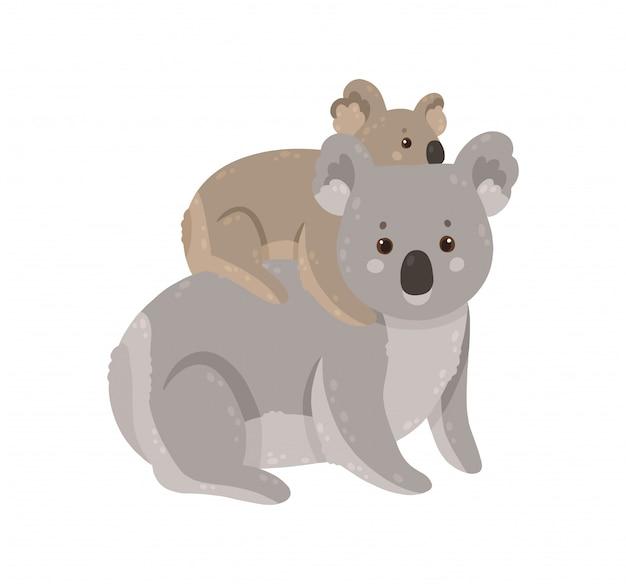 Śliczna koala z dzieckiem. matka koala z dzieckiem.