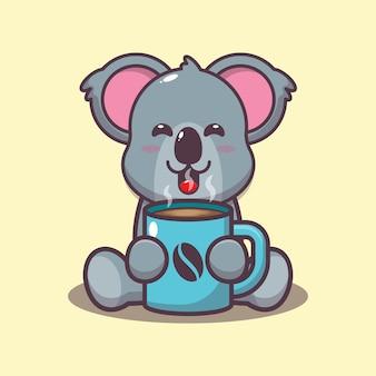 Śliczna koala z gorącą kawą kreskówka wektor ilustracja