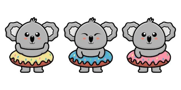 Śliczna koala z ilustracją kreskówki pączka