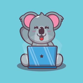 Śliczna koala z ilustracją wektorową kreskówki laptopa
