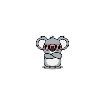 Śliczna koala z okularami przeciwsłonecznymi skrzyżowanymi ramionami kreskówka