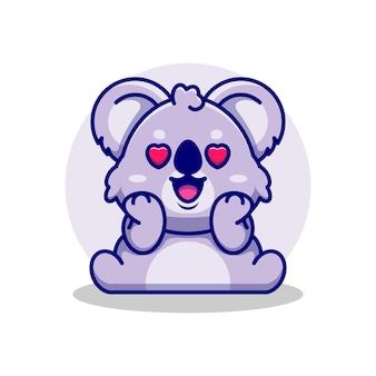 Śliczna koala zakochana kreskówka