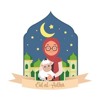 Śliczna kobieta hidżab niosąca owcę w ręku poświęcenie eid al adha płaski wektor kreskówka projekt