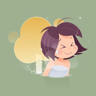 Śliczna kobieta pierdzi z pustym balonem out od jej dna przeciw zielonemu tłu, śmieszna twarzy kreskówka